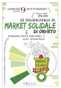 Locandina dell'inaugurazione del market solidale lunedì 9 settembre